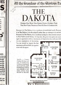 """All the Grandeur of the Glorious Past"" ~ The layout/diagram of Apartment # 65, located in the Dakota Apartment Building, NYC. ~ {cwl} ~ (Image: Dakota Documentary)"