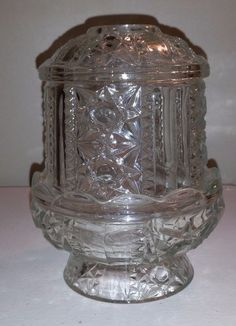VINTAGE INDIANA GLASS STARS & BARS CLEAR FAIRY LAMP CANDLEHOLDER