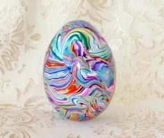 Real Duck Egg Covered with Polymer Clay  Multi Colored by jbwolen, $20.00