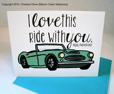 Anniversary Card  I Love This Ride With You by MarionClaireStation, $4.00