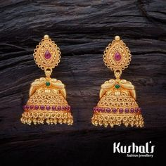 A stunning pair of South Indian Traditional Silver Temple Ruby Green Jhumka Earrings with Hanging Beads & spinal stones. this pair makes for great festive wear. Wedding Jewellery Designs, Gold Jewellery Design, Body Jewellery, Temple Jewellery, Wedding Jewelry, Silver Jewelry, Silver Ring, Jewellery Shops, Jewelry Stores