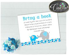 Our new product: Baby shower boy B.... Check it out here: http://snoopy-online.myshopify.com/products/baby-shower-boy-bring-a-book-insert-cards-printable-with-aqua-blue-and-gray-color-elephant-theme-jpg-pdf-instant-download-ebl01