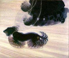 GIACOMO BALLA: DINAMISMO DE UN PERRO CON CADENA_Se trata de un óleo sobre lienzo de 89,85 x 109,85 cm. La obra de Giacomo Balla se caracteriza por su constante renovación, sin embargo, el leitmotiv de toda ella no es otro que el interés por fijar el movimiento en el cuadro, trabajando de forma paralela con ordenaciones de luz y color para los diferentes temas de sus dibujos.
