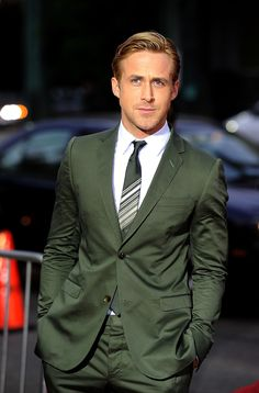 Ryan Gosling in Green Olive Suit by Gucci