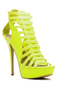 Neon Yellow Faux Leather Strappy Platform Heels @ Cicihot Heel Shoes online store sales:Stiletto Heel Shoes,High Heel Pumps,Womens High Heel Shoes,Prom Shoes,Summer Shoes,Spring Shoes,Spool Heel,Womens Dress Shoes