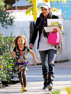 Halle Berry keeps an eye on her little sprinter, 4-year-old daughter Nahla, after school Tuesday in Los Angeles.