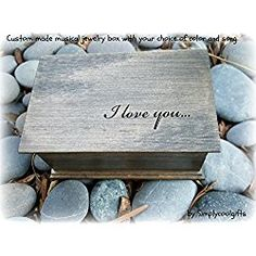 Personalized musical jewelry box with I love you engraved on top, gift for love, great gift for fifth anniversary handmade by Simplycoolgifts