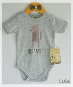 Adorable wolf baby onesie. Cute and funny baby onesie with wolf print. Little wolf.  Modern baby clothes, many colors available. by HandmadeByLula on Etsy https://www.etsy.com/listing/219985074/adorable-wolf-baby-onesie-cute-and-funny