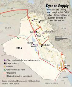 Map of Iraq showing areas held or partially held by insurgents and the location of oil refineries, fields, and pipelines. Uranium, Baghdad Iraq, Oil Refinery, State Of The Union, Insurgent, Wall Street Journal, Middle East, Fields, Maps