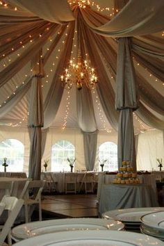 Fabric Swags In Tent With Le Lights Wedding Swooooon I D Just Want Pink And White