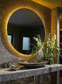 South Shore Decorating Blog: Back lit mirror...indirect light...not for makeup!