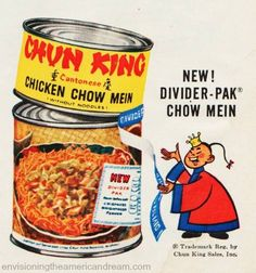 MCM Craze saved to Midcentury grocery shopping vintage illustration chun king divider pack – I remember of cans so well. I think La Choy had the same packaging with a small can on top and a. Retro Advertising, Retro Ads, Vintage Advertisements, Vintage Ads, Vintage Food, Retro Food, 1960s Food, Vintage Stuff, Retro Recipes