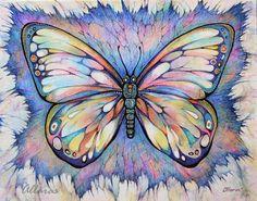 "Butterfly Art. Original Painting on silk. Purple Fantasy Butterfly Picture. Nursery decor girl. Childrens wall art. 8"" x 10""."