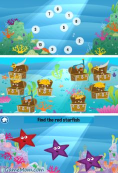 ocean themed learning app for PreK - K kids. It helps kids develop picture and name recognition skills, receptive vocabulary, numbers, counting, memory and executive functioning.  #kidsapps