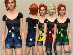 Four bright top with a print of a butterfly. All repainting with the same file, set a separate slot.  Found in TSR Category 'Sims 4 Female Everyday'