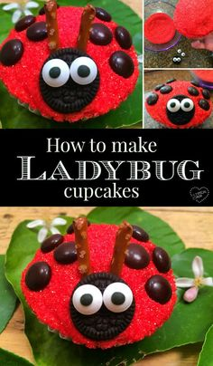 How to make ladybug cupcakes, super easy and perfect for birthday parties for girls. Cute cupcakes f Baby Shower Cupcakes For Girls, Kid Cupcakes, Cupcake Cakes, Snowman Cupcakes, Princess Cupcakes, Cupcake Ideas, Easy Animal Cupcakes, Cup Cakes, Rose Cupcake