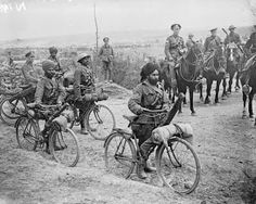 Indian Bicycle Troops on the Fricourt-Mametz road in Somme, France.