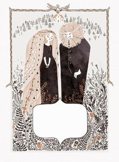 art, spot illustration, figure, man, woman, house, naive, floral, pattern, frame. // ssoja: The first page of a little fairy tale...