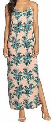 CeCe NEW Pink Women's 2P Petite Thigh Slit Printed Maxi Dress $148 DEAL #287