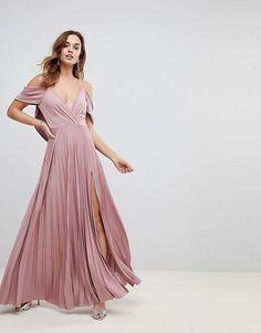 ddd4b91efea15 ASOS Cold Shoulder Cowl Back Pleated Maxi Dress Taupe Bridesmaid Dresses,  Bridesmade Dresses, Affordable