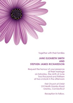 FREE PDF Download. Fresh Daisy Wedding Invitation. Template is very easy to edit and print at home.
