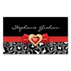 Black white leopard print with red bow & jewel business cards