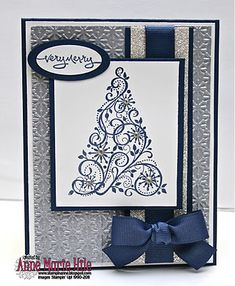 Stamps: Snow Swirled, Short and Sweet   Paper: Night of Navy, Whisper White and Brushed Silver card stock   Ink: Versa-mark and Night of Navy Classic ink   Accessories: Please visit my blog post! :)   Techniques: embossing