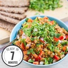 Turkish Lentil Salad with a honey mustard dressing. Quick and healthy, ready in 7 minutes. Full of fiber, protein and vitamin K.