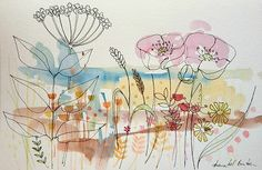 Original Water Colour Painting 'Wild Flowers'. Signed.