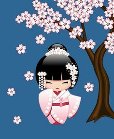 Japanese Bride Kokeshi Doll Art Print by Natalia Linnik - X-Small Japanese Party, Japanese Doll, Doll Tattoo, Asian Doll, Kokeshi Dolls, Matryoshka Doll, Art Et Illustration, Asian Art, Paper Dolls