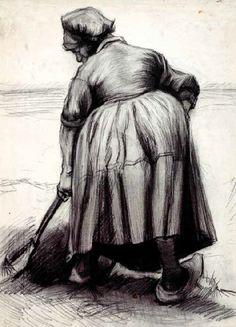 Vincent Van Gogh - Post Impressionism - Paysanne au Champ - 1885