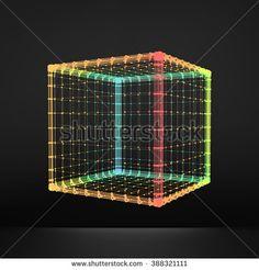 Cube. Regular Hexahedron. Platonic Solid. Regular, Convex Polyhedron. 3D Connection Structure. Lattice Geometric Element for Design. Molecular Grid. Wireframe Mesh Polygonal Element.