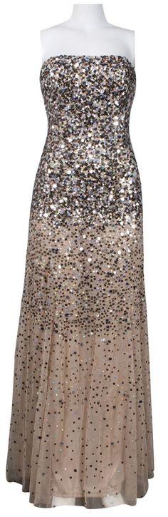 Adrianna Papell Strapless Sequin Mesh Dress in Beige