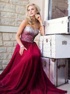 Elegant Ladies 2014 Sexy Long Latest Fashion Style Crystals A Line Sweetheart Vintage Burgundy Ruby Red Prom Party Dresses