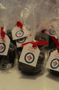 Zave's birthday: Oreo Pucks - cute for the goody bags!