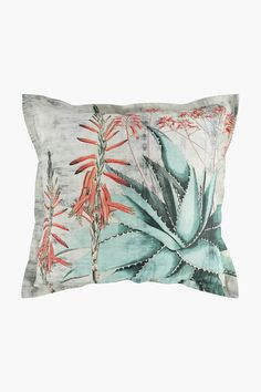 Printed Aloe Scatter Cushion, 55x55cm - Shop New In - Home Décor - S Scatter Cushions, Throw Pillows, Home Decor Shops, Aloe, Decor Styles, Living Spaces, Cover, Fabric, Prints