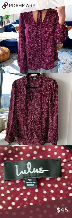 Lulus burgundy polka dot blouse Great condition size small Lulu's Tops Blouses Polka Dot Blouse, Polka Dots, Red And White, Burgundy, Blouses, Womens Fashion, Things To Sell, Tops, Style