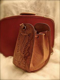 Vintage tooled leather handbag