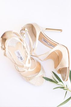 gold Jimmy Choo wedding shoes. So pretty.