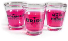 Girls Nite In: Bridesmaid, Maid of Honor, Bride Shot Glasses. 2.95 each. Great party favor!