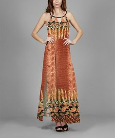 Look what I found on #zulily! Copper Paisley Maxi Dress - Plus #zulilyfinds