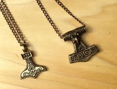 Thor's Hammer Copper Necklace Mjolnir Viking Pendant Norse Pendant Mans Necklace Mens Jewelry