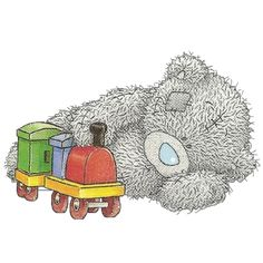 Tatty Teddy Playing With Toy Train Graphic