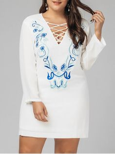 AD : Plus Size Criss Cross Embroidered Dress - WHITE XL-5XL   Style: Casual   Material: Polyester   Material Type: Chiffon   Silhouette: Sheath   Dresses Length: Mini   Collar-line: V-Collar   Sleeves Length: Long Sleeves   Decoration: Embroidery   Pattern Type: Others   With Belt: No   Season: Spring,Summer   Weight: 0.4300kg   Package: 1 x Dress