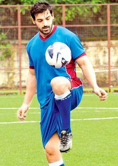 John Abraham playing football. #Style #Bollywood #Fashion #Handsome