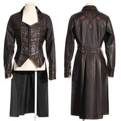 Women Black Double Breasted Gothic Steam Punk Fashion Trench Coat SKU-11401759