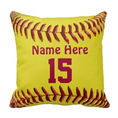 Softball Pillows for Girls Softball Room Themes. Type her NAME and JERSEY NUMBER into the text boxes. Pretty golden colored background on the otherside with a pretty Heart Shaped Softball. See more Softball Room Decorating Ideas: http://www.zazzle.com/littlelindapinda/gifts?cg=196194074123766050&rf=238147997806552929 and other Softball Stuff for Girls, Teams, Coaches and Parents. ALL of Little Linda Pinda Designs CLICK HERE: http://www.Zazzle.com/LittleLindaPinda*/