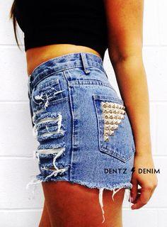 "Use coupon code ""pinterest"" Plus Size High Waisted Denim Shorts - Back Pocket Stud by DentzDenim"