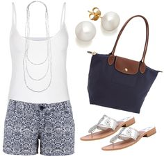 Patterned Shorts ^^( neutral shorts with blue flowers and Blue or neutral top)