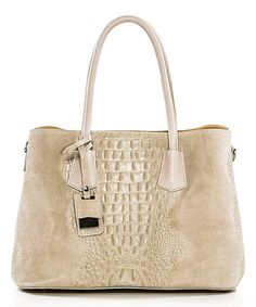 Another great find on #zulily! Beige Reptile-Embossed Leather Satchel #zulilyfinds